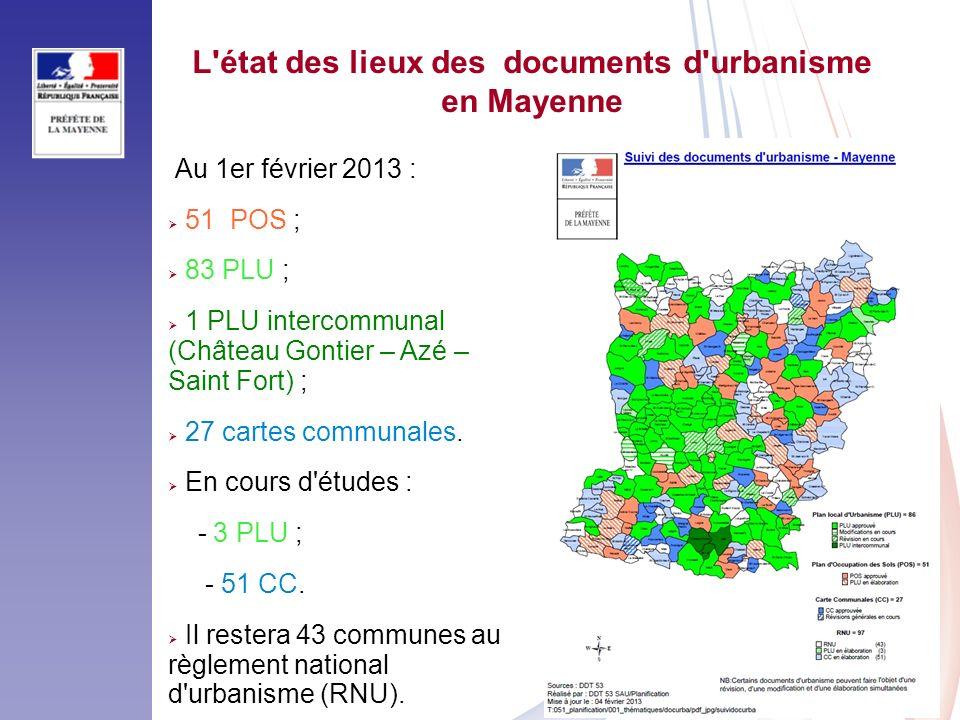 L état des lieux des documents d urbanisme
