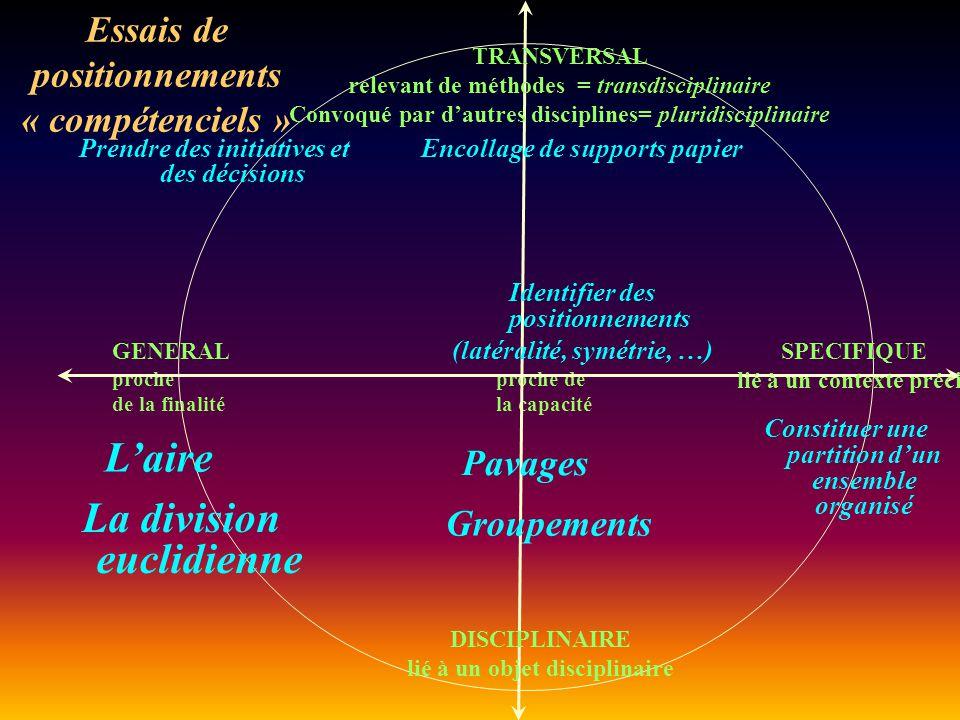 L'aire La division euclidienne