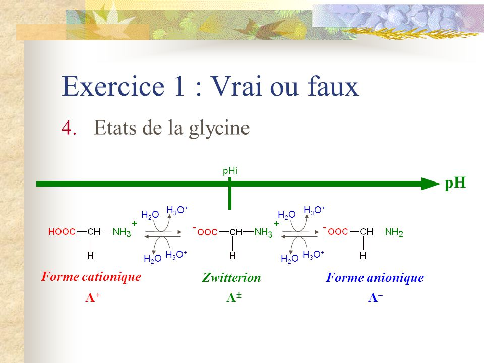 Exercice 1 : Vrai ou faux Etats de la glycine pH Forme cationique A+