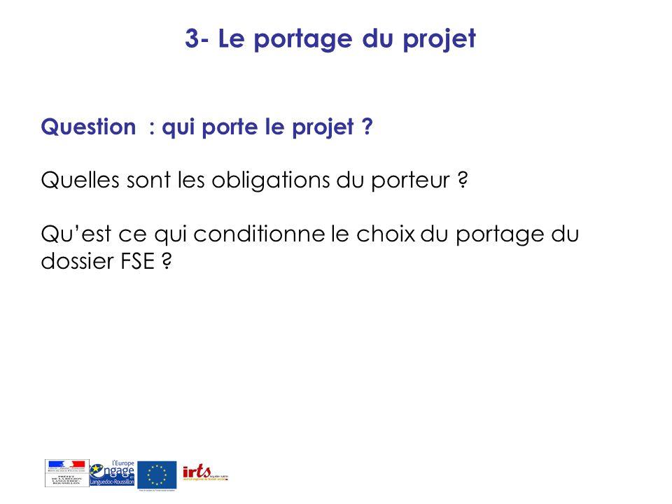 3- Le portage du projet Question : qui porte le projet