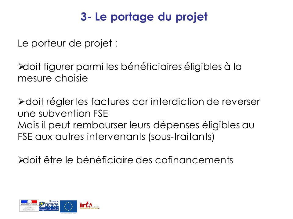 3- Le portage du projet Le porteur de projet :