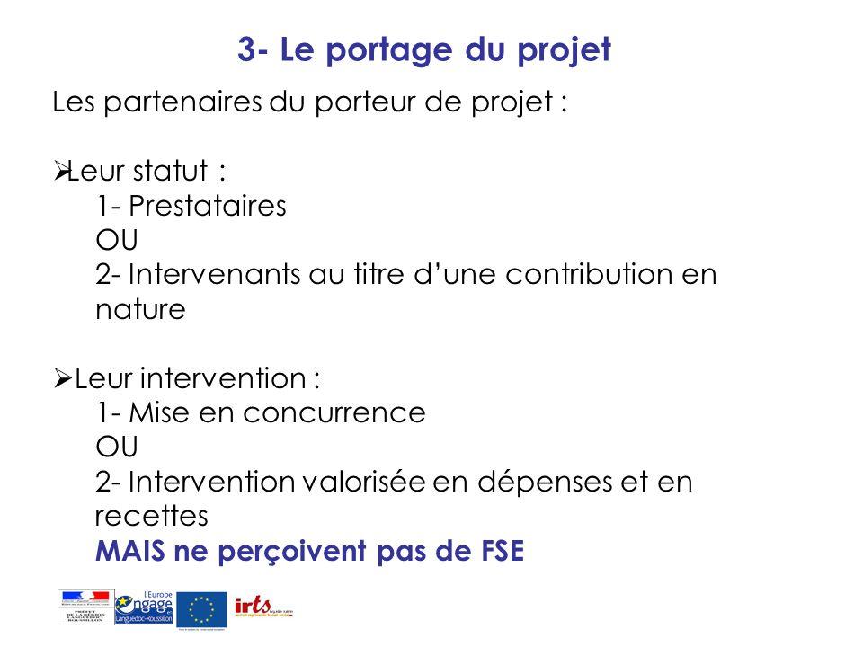 3- Le portage du projet Les partenaires du porteur de projet :