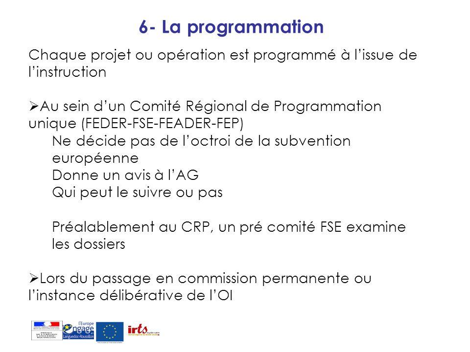 6- La programmation Chaque projet ou opération est programmé à l'issue de l'instruction.