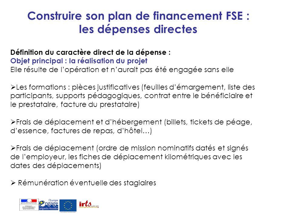Construire son plan de financement FSE : les dépenses directes