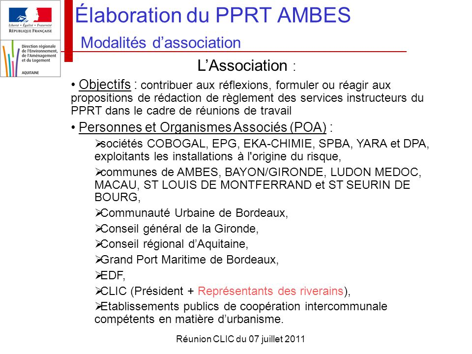 Élaboration du PPRT AMBES Modalités d'association