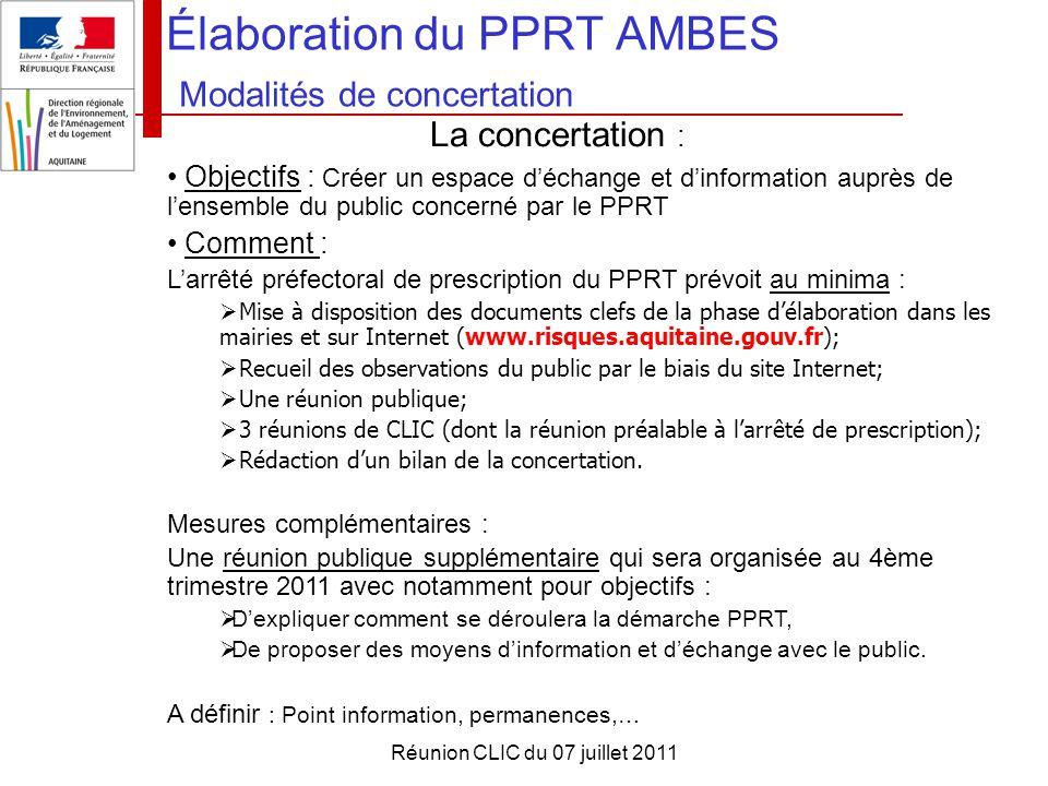 Élaboration du PPRT AMBES Modalités de concertation