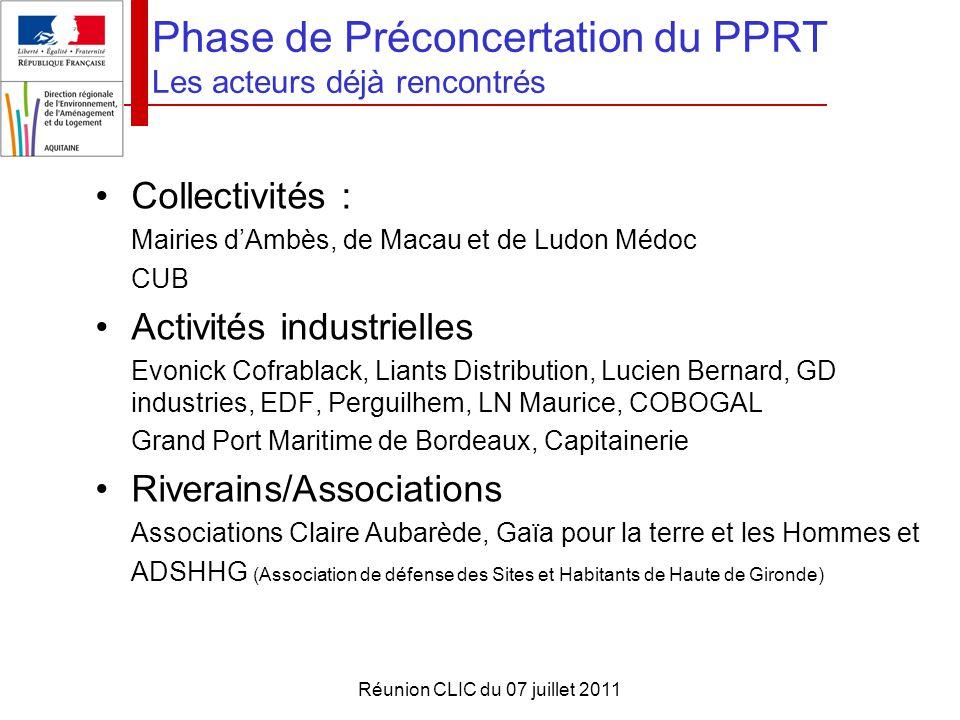Phase de Préconcertation du PPRT Les acteurs déjà rencontrés
