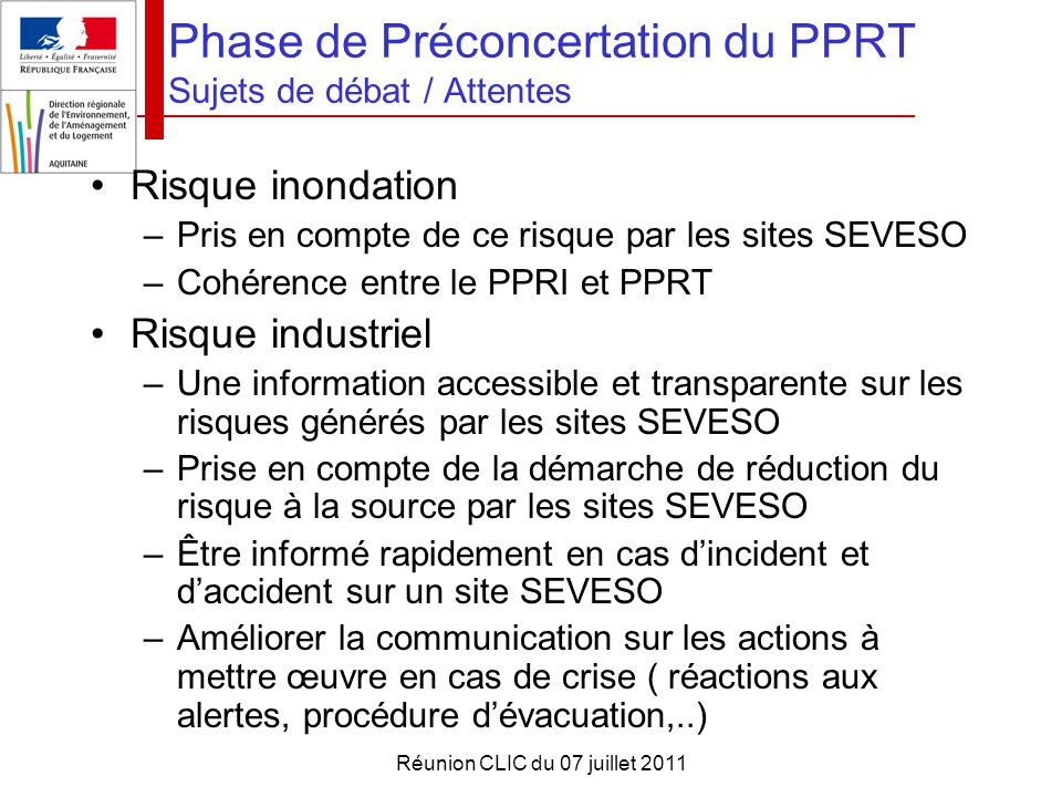 Phase de Préconcertation du PPRT Sujets de débat / Attentes