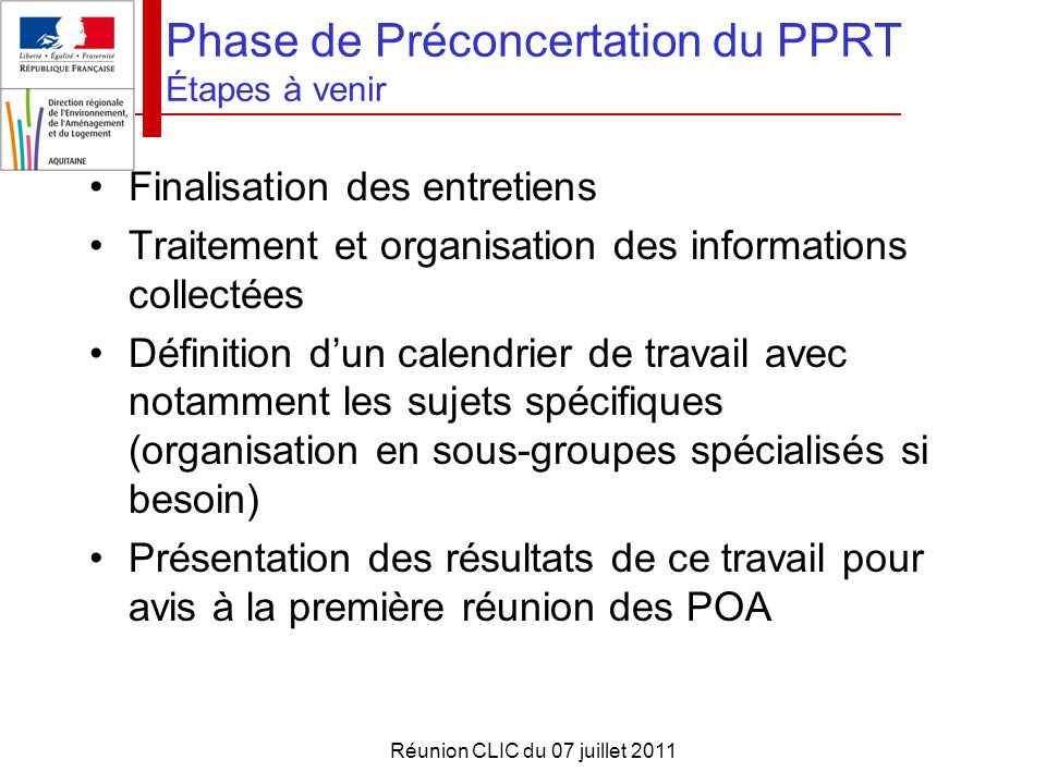Phase de Préconcertation du PPRT Étapes à venir