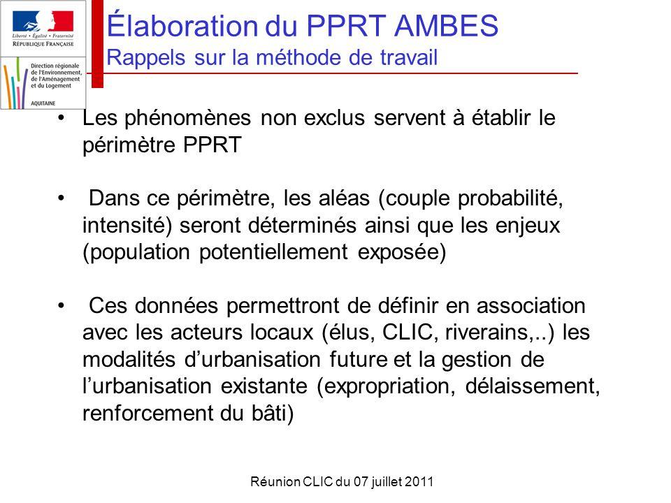 Élaboration du PPRT AMBES Rappels sur la méthode de travail