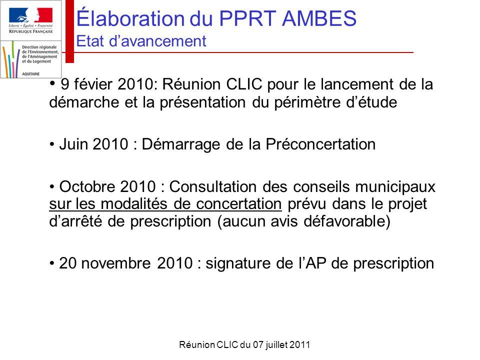 Élaboration du PPRT AMBES Etat d'avancement