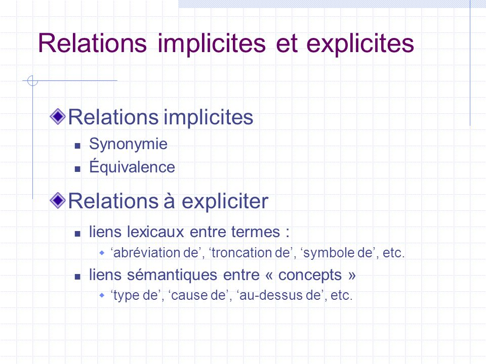 Relations implicites et explicites