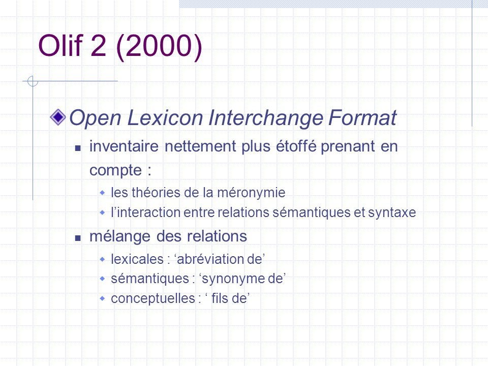 Olif 2 (2000) Open Lexicon Interchange Format