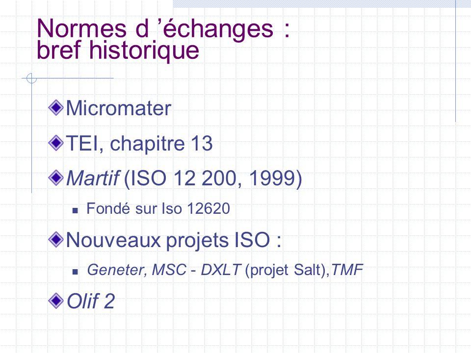 Normes d 'échanges : bref historique