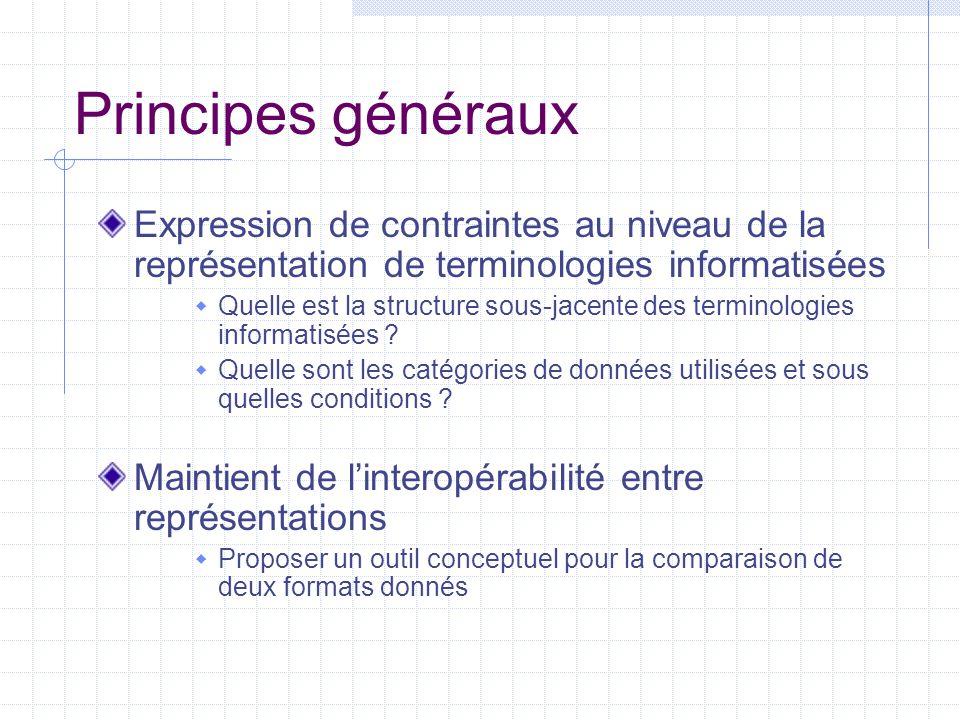 Principes généraux Expression de contraintes au niveau de la représentation de terminologies informatisées.