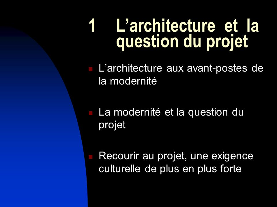 1 L'architecture et la question du projet