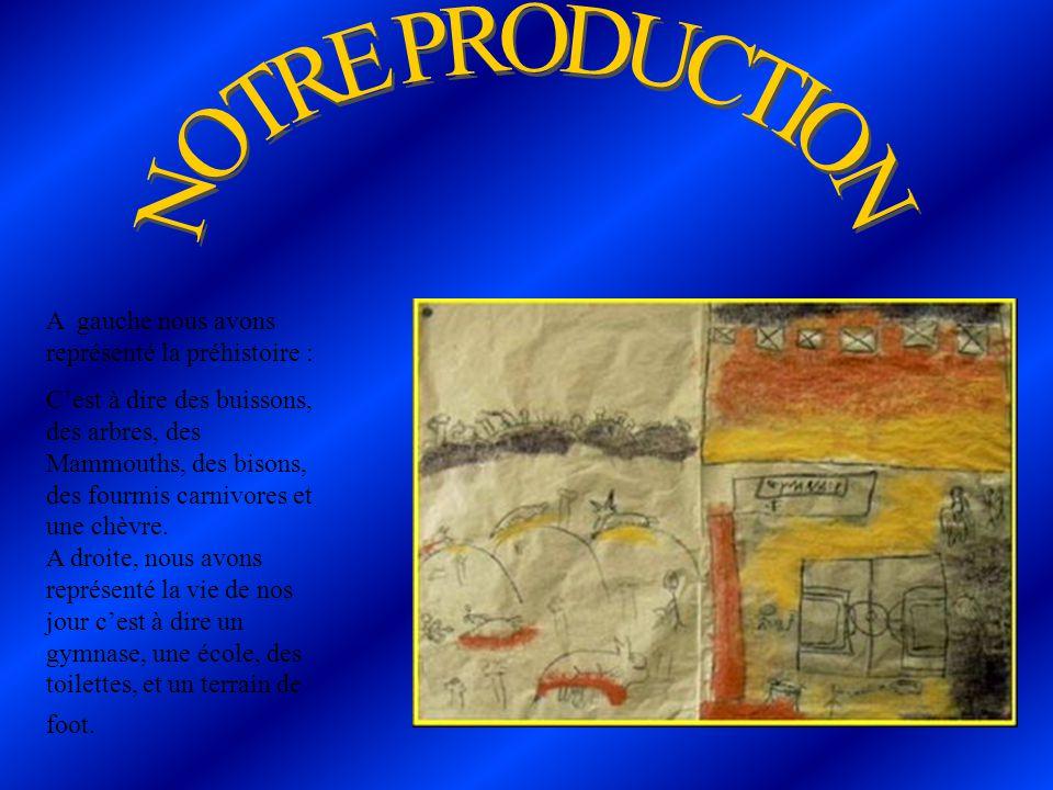 NOTRE PRODUCTION A gauche nous avons représenté la préhistoire :