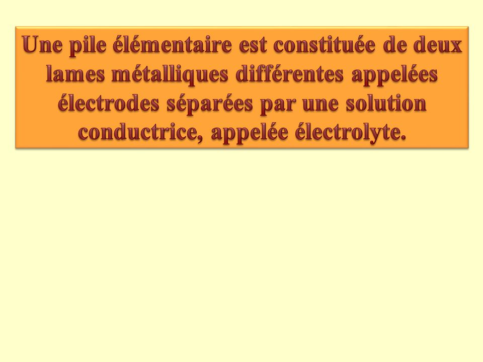 Une pile élémentaire est constituée de deux lames métalliques différentes appelées électrodes séparées par une solution conductrice, appelée électrolyte.