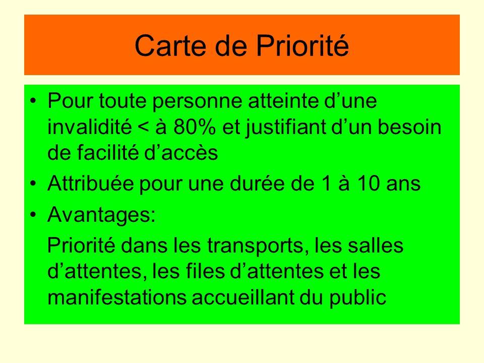 Carte de PrioritéPour toute personne atteinte d'une invalidité < à 80% et justifiant d'un besoin de facilité d'accès.