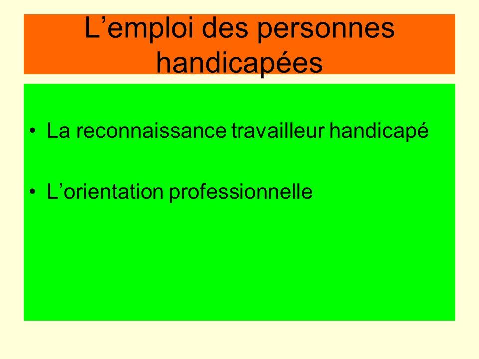 L'emploi des personnes handicapées