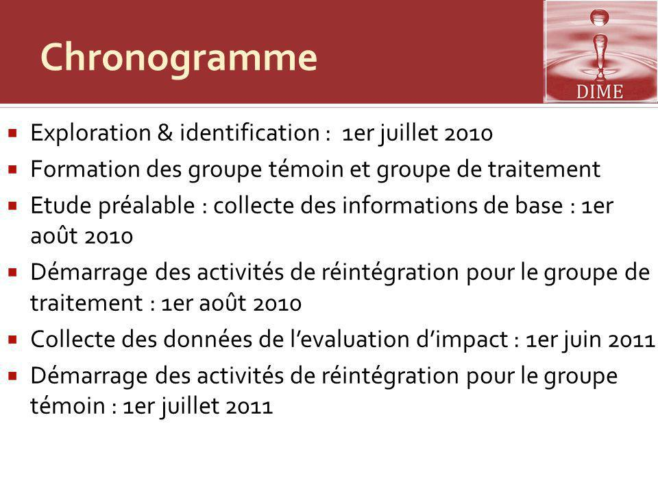 Chronogramme Exploration & identification : 1er juillet 2010