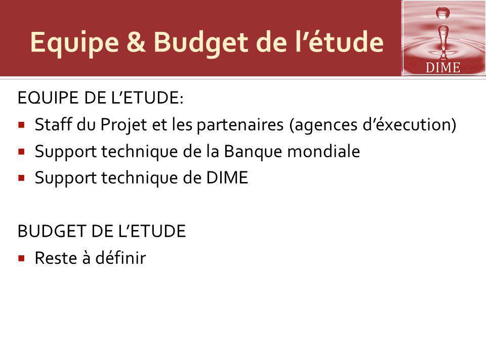 Equipe & Budget de l'étude