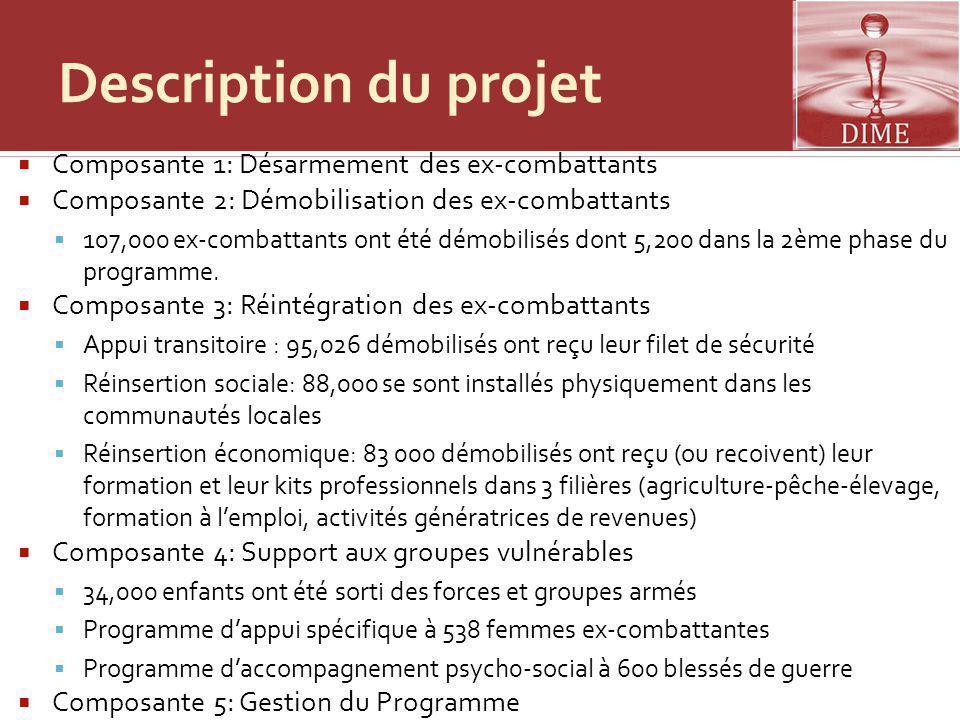 Description du projet Composante 1: Désarmement des ex-combattants