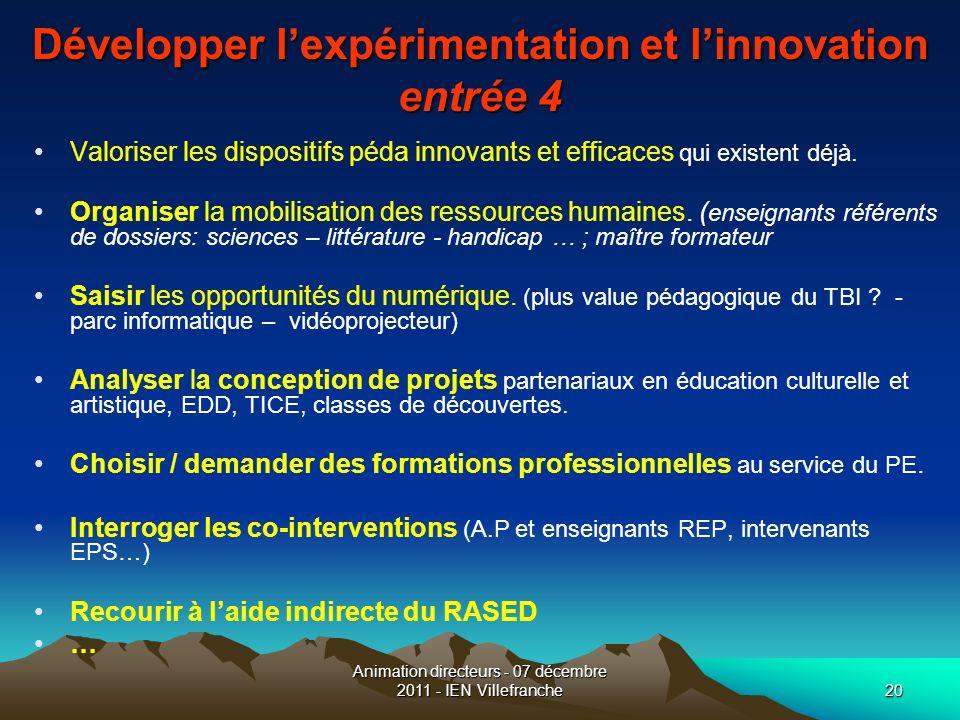 Développer l'expérimentation et l'innovation entrée 4