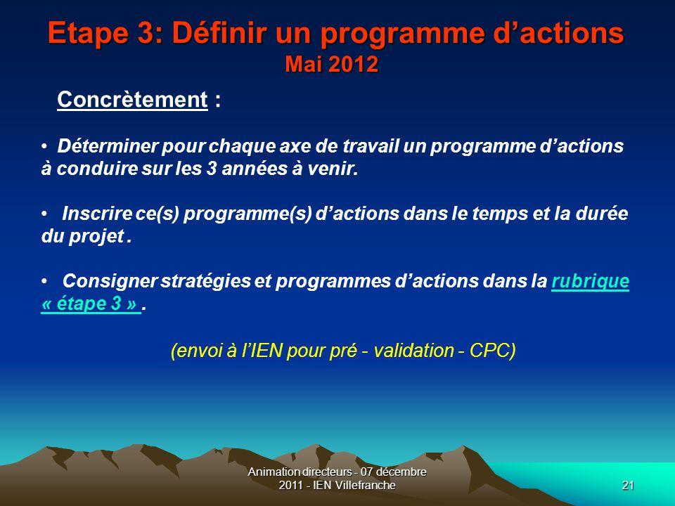 Etape 3: Définir un programme d'actions Mai 2012