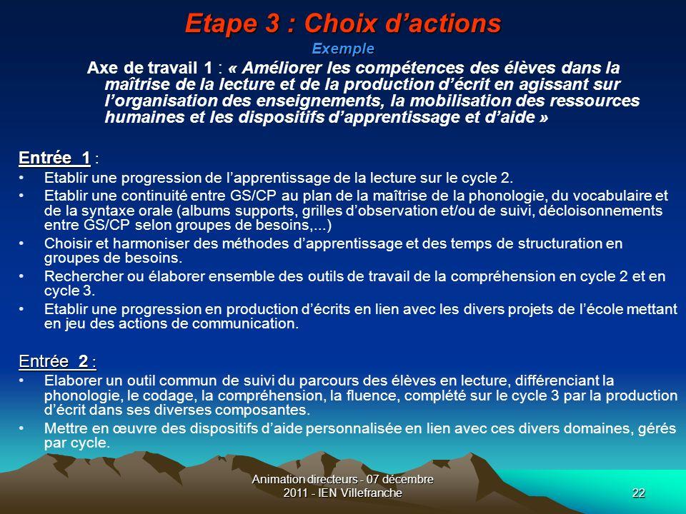 Etape 3 : Choix d'actions Exemple