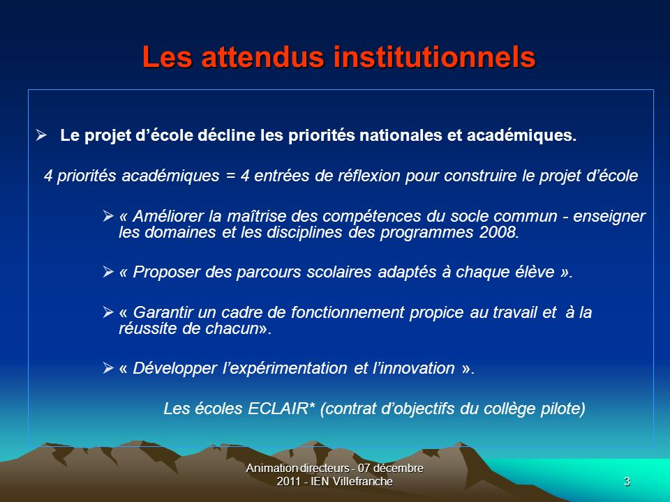 Les attendus institutionnels