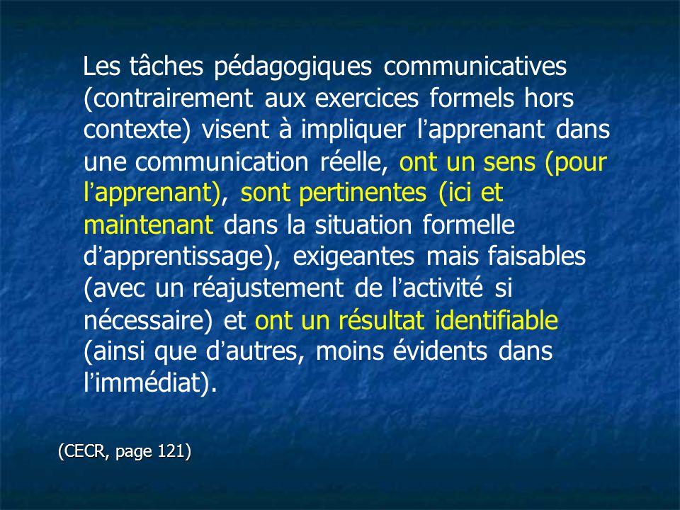 Les tâches pédagogiques communicatives (contrairement aux exercices formels hors contexte) visent à impliquer l'apprenant dans une communication réelle, ont un sens (pour l'apprenant), sont pertinentes (ici et maintenant dans la situation formelle d'apprentissage), exigeantes mais faisables (avec un réajustement de l'activité si nécessaire) et ont un résultat identifiable (ainsi que d'autres, moins évidents dans l'immédiat).