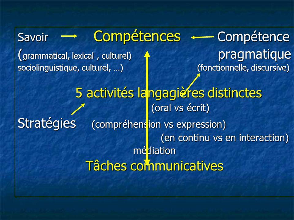 (grammatical, lexical , culturel) pragmatique