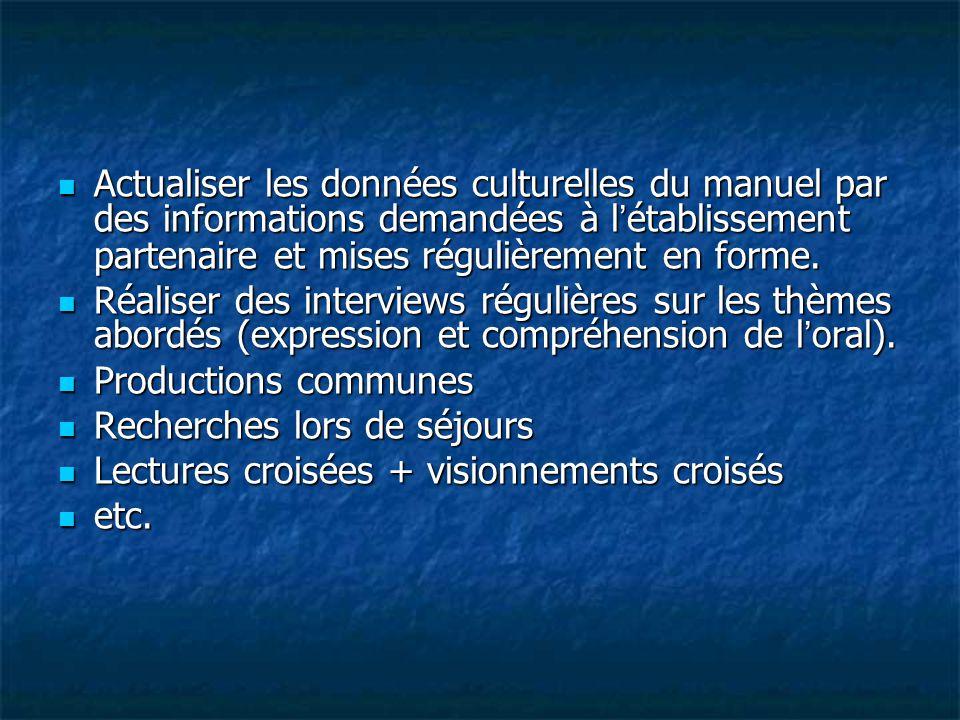 Actualiser les données culturelles du manuel par des informations demandées à l'établissement partenaire et mises régulièrement en forme.