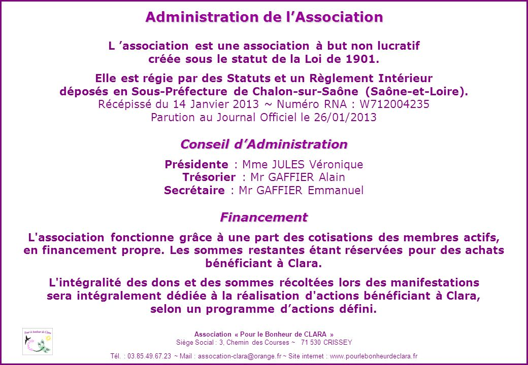 Administration de l'Association
