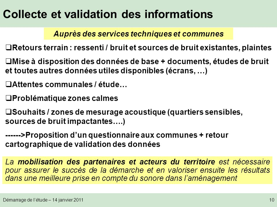 Collecte et validation des informations