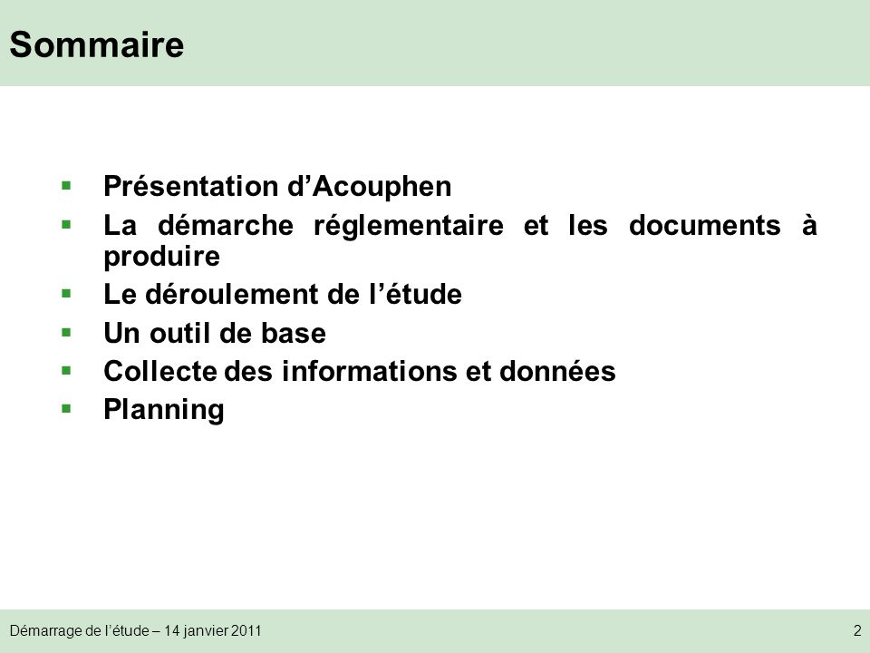 Sommaire Présentation d'Acouphen