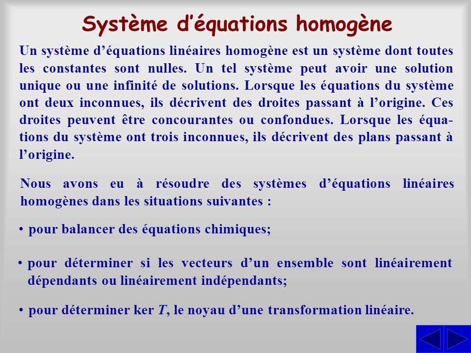 Système d'équations homogène