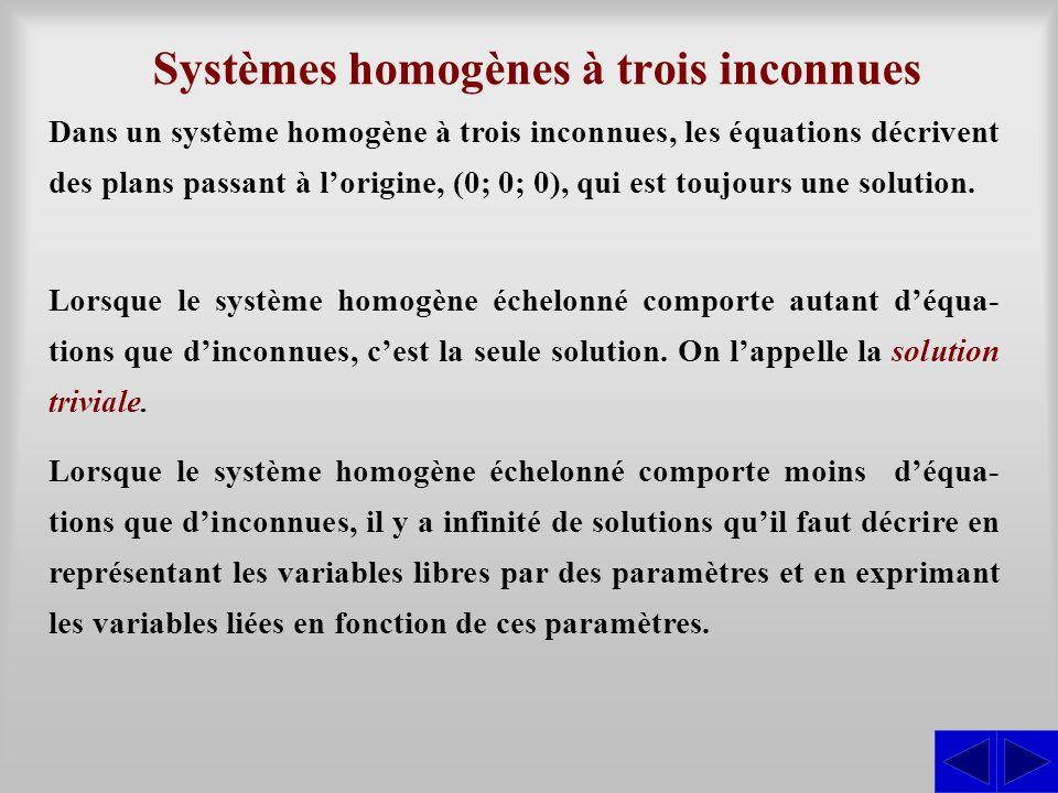 Systèmes homogènes à trois inconnues