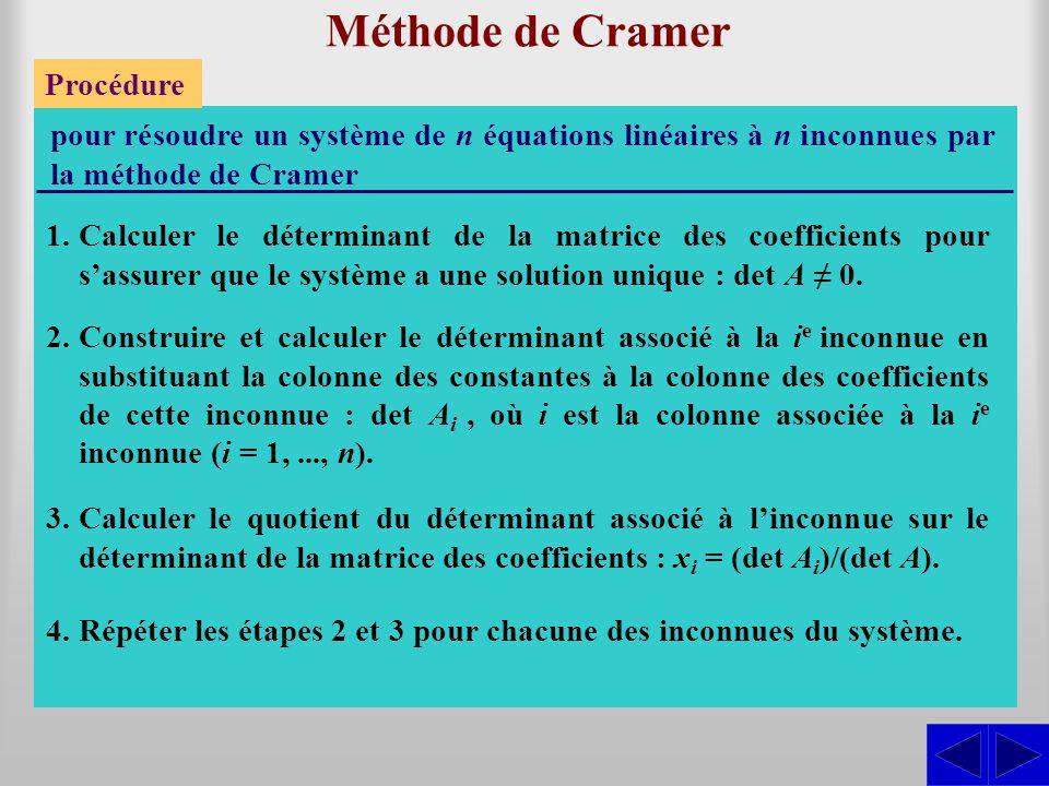 Méthode de Cramer Procédure