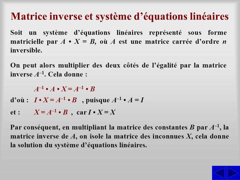 Matrice inverse et système d'équations linéaires