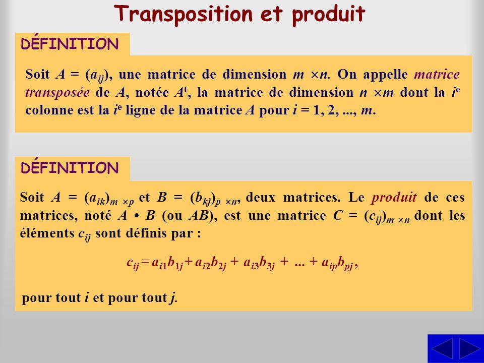 Transposition et produit