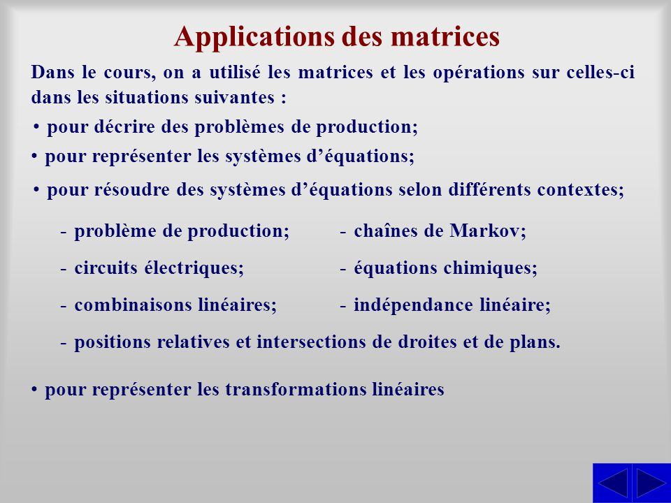 Applications des matrices