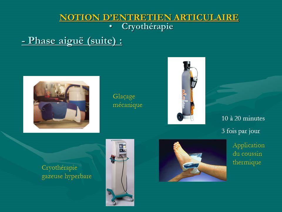 - Phase aiguë (suite) : NOTION D'ENTRETIEN ARTICULAIRE Cryothérapie