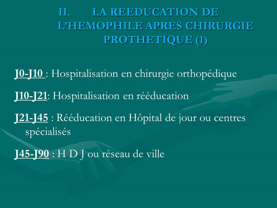 LA REEDUCATION DE L'HEMOPHILE APRES CHIRURGIE PROTHETIQUE (1)