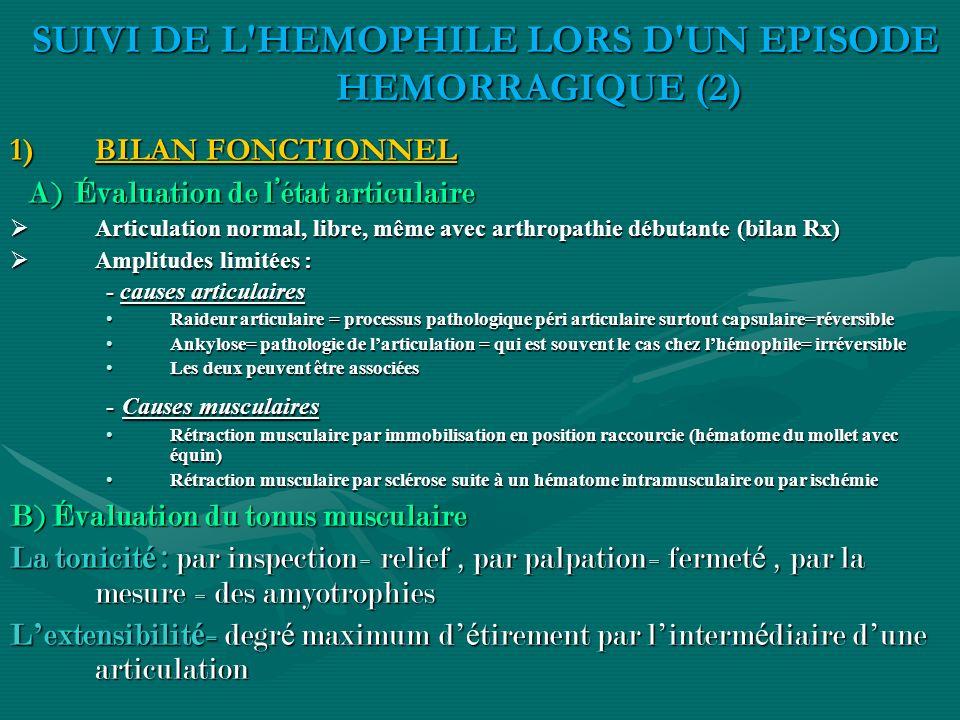 SUIVI DE L HEMOPHILE LORS D UN EPISODE HEMORRAGIQUE (2)