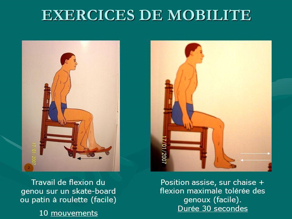 EXERCICES DE MOBILITETravail de flexion du genou sur un skate-board ou patin à roulette (facile) 10 mouvements.