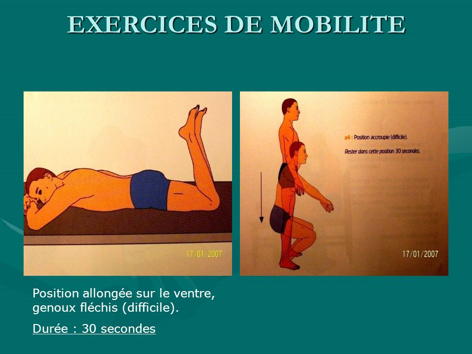 EXERCICES DE MOBILITE Position allongée sur le ventre, genoux fléchis (difficile).