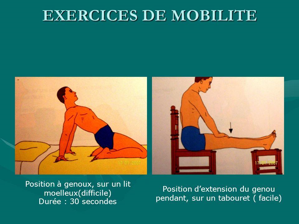 EXERCICES DE MOBILITE Position à genoux, sur un lit moelleux(difficile) Durée : 30 secondes.