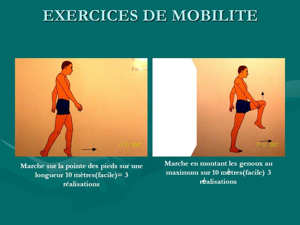 EXERCICES DE MOBILITEMarche en montant les genoux au maximum sur 10 mètres(facile) 3 réalisations.